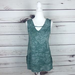 Anthropologie Lazy Sundays Green Burnout Tank Top